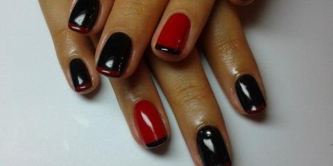 Червоно-чорний французький манікюр гель-лаком покроково