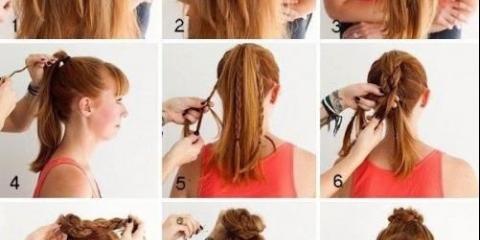 Зачіска для спорту: плетений пучок з кіс.